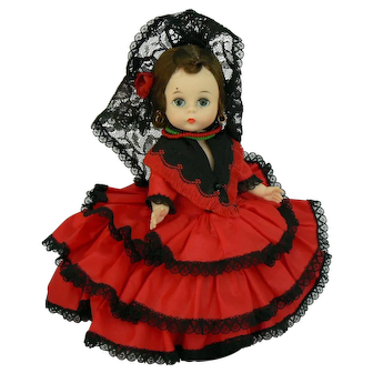 Vintage BKW Alexander kin Spanish doll all original with woven tag on dress.