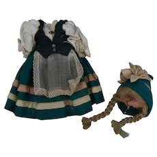 Vintage Small Outfit, wig and Hat for antique doll