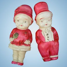 1920's Celluloid Pair of Dolls Cute Girl and Boy Japan