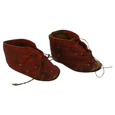 Old Pair of French or German Doll shoes Red Leather