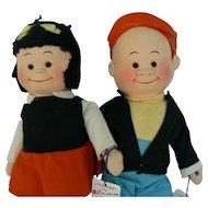 Vintage Georgene Novelties Nancy and Sluggo dolls MINT with Tags super cute.