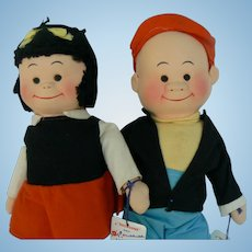 Vintage Georgene Novelties Nancy and Sluggo dolls MINT with Tags super cute.