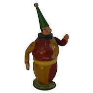 OLD German Wood Clown doll toy with sticker on base