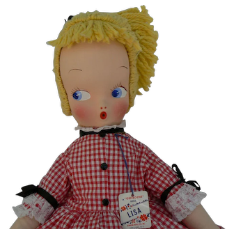 Georgene Novelties Lisa Cloth Mask Face Googley Doll all original and tagged mint condition 1950's.
