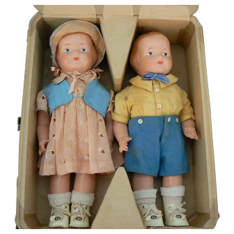Very Rare Effanbee Baby Dainty Dolls American Children Dolls in the Original wood Box CRAZE FREE all original and marked .