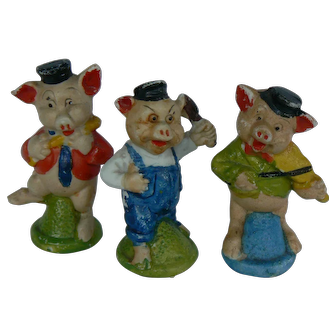 The Three Little Pigs bisque figurines, OLD Japan made and sweet