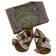 Old vintage Doll shoes with Box, Pinkish gold color unused.