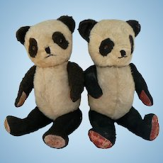 Vintage OLD Panda Teddy Bears TWINS and oh so Cute.