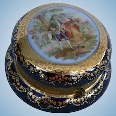 Pretty Vintage Porcelain box hinged lid and gold trim OLD look.