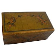 Vintage Italian wood box with Cherubs on Lid for your doll.