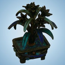 RARE Silver Miniature Cloisonne Enamel Flower pot with flowers/Plant Very detailed OLD.