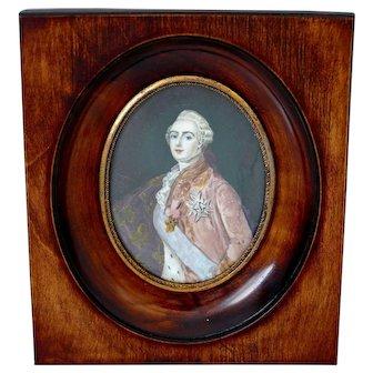 Antique French Miniature Painting, Portrait Of King Louis XVI