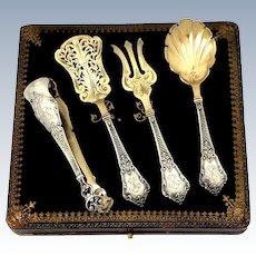 Lapar French Sterling Silver 18-Karat Gold Hors D'oeuvre Dessert Set Box