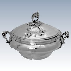 Soufflot Rare French Sterling Silver Covered Serving Dish, Soup Tureen, Rococo
