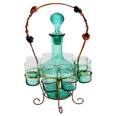 Antique French Green-Blue Glass Liquor Cabaret Set 9 Pieces with Ormolu Stand