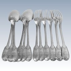 Puiforcat French Sterling Silver Dinner Flatware Set of 12 Pieces Neoclassical