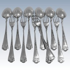 Puiforcat French Sterling Silver Dessert Entremet Flatware Set 12pc Rococo