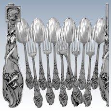 Ravinet French Sterling Silver Dinner Flatware Set 12 pc Iris Pattern