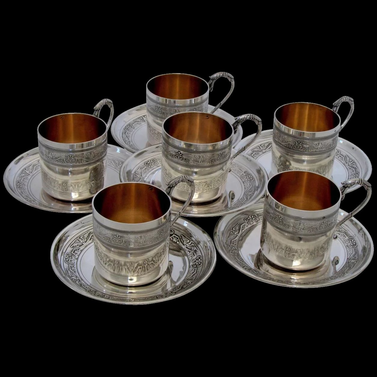 molle ornate french sterling silver vermeil six coffee tea cups with   antiques enna