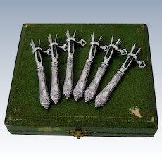 Rare French Sterling Silver Cutlet Holders Set of Six Pieces Original Box Rococo