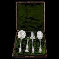 Coignet French All Sterling Silver Dessert Hors D'oeuvre Set Box Apples