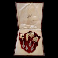Ernie French All Sterling Silver Vermeil Dessert Hors D'œuvre Set 4 pc w/box