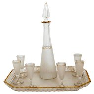 1900s St. Louis Gold Enamel Crystal Liquor Set - Decanter Cordials and Tray