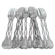 Odiot Tetard French Sterling Silver Dessert Entremet Set 12 pc Trianon pattern