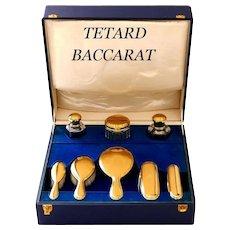 Tetard French 18-Karat Gold Sterling Silver Baccarat Crystal Travel Vanity Set