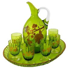 1900 Antique French Green Crystal Wine or Aperitif Service, Jug, Glasses, Tray