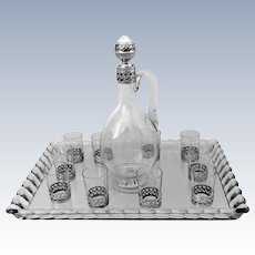 Christofle Rare French Sterling Silver Baccarat Crystal Liquor Service