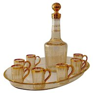 1870 Rare French Baccarat Gold Crystal Liquor Service Decanter, Cups and Tray