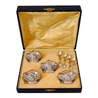 Puiforcat French Sterling Silver 18k Gold 4 Salt Cellars, Spoons, Box, Empire