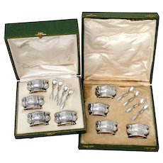 Compere Rare French Sterling Silver 18K Gold 8 Salt Cellars, Spoons, Boxes