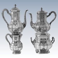 Puiforcat Rare French Sterling Silver 18k Gold Tea Pot, Coffee Pot, Sugar Pot, Creamer, Regency