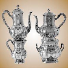 Puiforcat Rare French Sterling Silver 18k Gold Tea Pot, Coffee Pot, Sugar Pot, Creamer, Regency