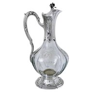 Puiforcat French Sterling Silver Cut Crystal Claret Jug, Ewer, Decanter, Regency