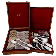 Puiforcat French Sterling Silver Flatware Set of 48 Pieces, Chest, Empire, Swan