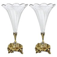 Pair of Antique French Crystal Trumpet and Bronze Vases