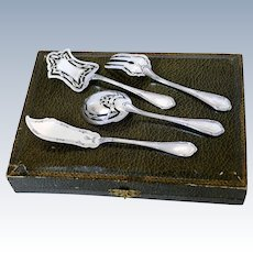 Coignet French All Sterling Silver Dessert Hors D'oeuvre set 4 pc w/box, Ribbons