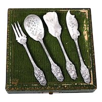 Antique French All Sterling Silver Dessert Hors D'oeuvre set 4 pc w/box, Iris
