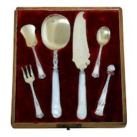 Cardeilhac French Sterling Silver 18k Gold, Mother-Of-Pearl Dessert & Ice Cream Set, Original Box