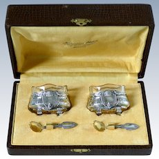 Crossard Antique Sterling Silver 18-Karat Gold Salt Cellars Pair, Spoons, Original Box