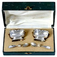 Moncheront French Sterling Silver 18k Gold Salt Cellars Pair, Spoons, Original Box, Neoclassical