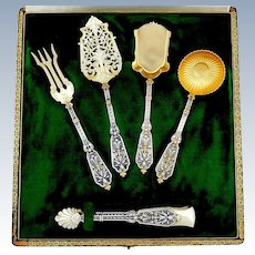 Puiforcat Rare French Sterling Silver 18k Gold Dessert Hors D'oeuvre Set 5 pc, Original box, Renaissance