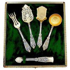 Puiforcat Rare French Sterling Silver 18k Gold Dessert Hors D'oeuvre Set 5 pc, Original box, Renaissance