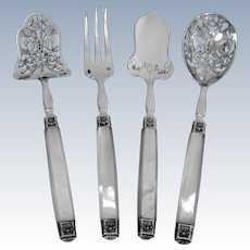 Cardeilhac French Sterling Silver & Mother-of-pearl Dessert Hors D'Oeuvre Set 4 pc