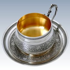 Imposing French Sterling Silver 18k Gold Chocolate, Tea, Coffee Cup with saucer, Dragons, Head of Big Cats