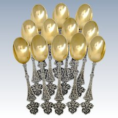 Puiforcat Masterpiece French Sterling Silver 18k Gold Tea Coffee Spoons Set 12 pc, Trilobé