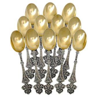Puiforcat Masterpiece French Sterling Silver 18k Gold Tea Coffee Spoons Set 12 pc, Trilobé